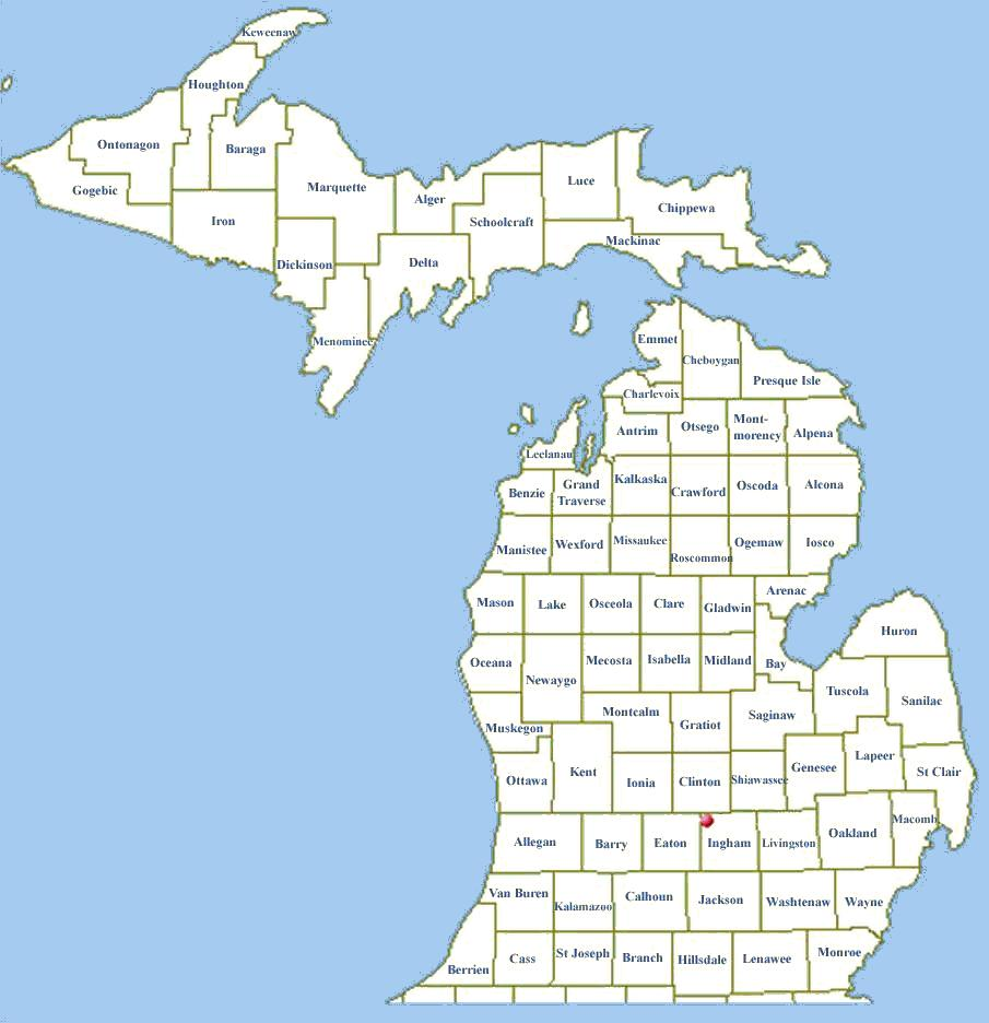 Michigan Section ARESRACES - Mi map
